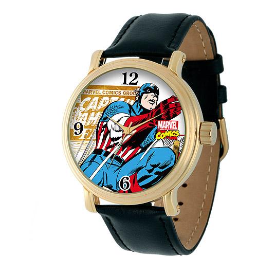Marvel Captain America Men's Vintage Gold Shiny Alloy Case Watch, Black Leather Strap