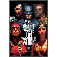 "Justice League - Movie Poster / Print (You Can't Save The World Alone - Batman, The Flash, Wonder Woman...) (Size: 24"" x 36"")"