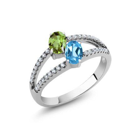 1.41 Ct Oval Green Peridot Swiss Blue Topaz Two Stone 925 Sterling Silver Ring