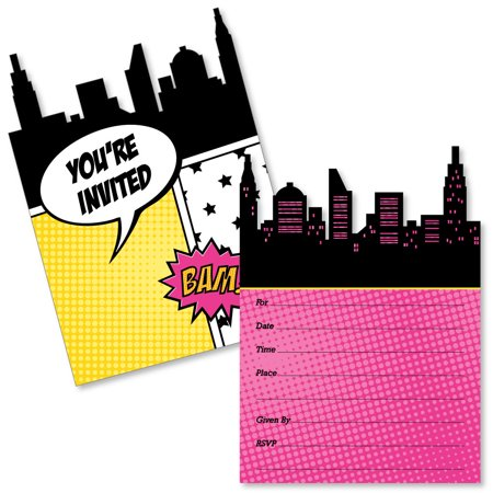 BAM! Girl Superhero - Shaped Fill-In Invitations - Baby Shower or Birthday Party Invitation Cards with Envelopes-12 Ct](Superhero Party Invitations)