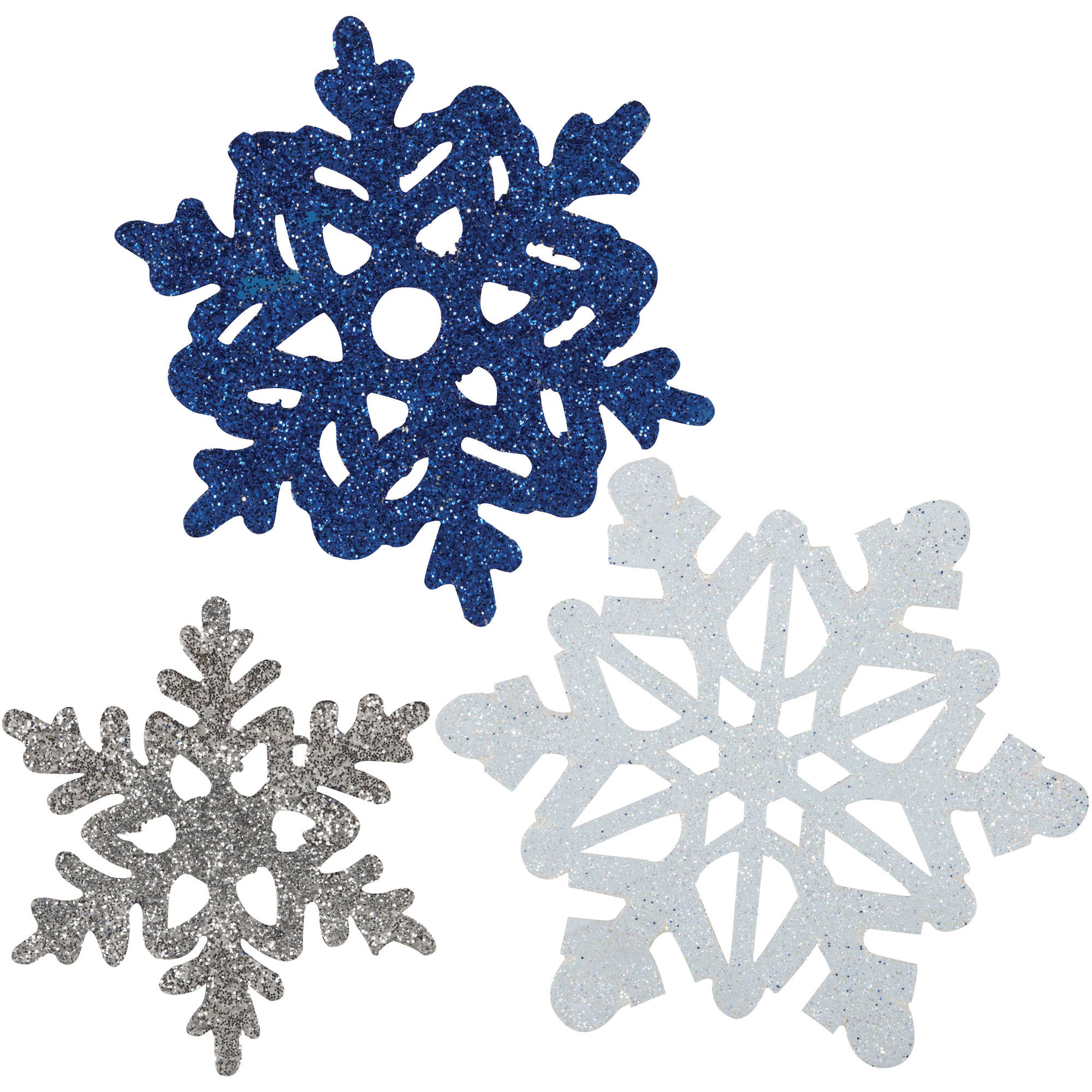 6 Christmas Winter white Blue Silver Snowflake Mini Glitter Cutout Decorations