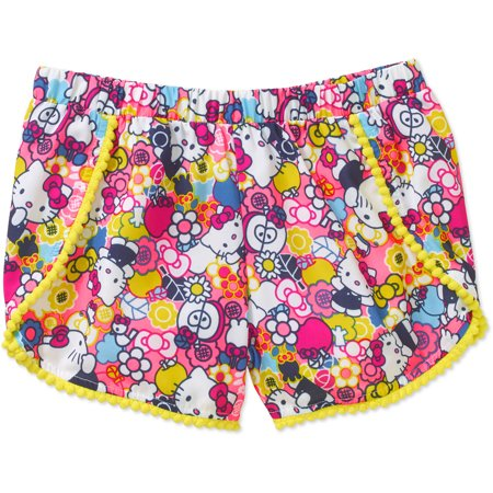 Hello Kitty Girls Printed Faille Festival Shorts With Pom Pom Trim