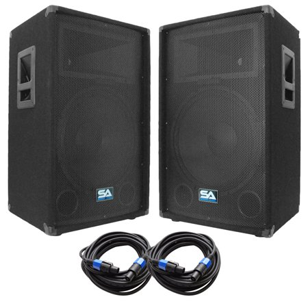 seismic audio pair of 15 dj speakers and 35 39 speaker cables 15 band karaoke loudspeakers. Black Bedroom Furniture Sets. Home Design Ideas