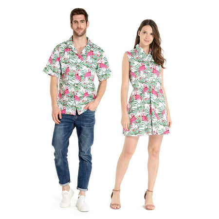 Couple Matching Hawaiian Luau Cruise Outfit Shirt Dress Flamingo in Love Men XL Women 2XL - Couples Fancy Dress