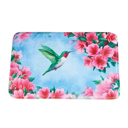 Floral Hummingbird Garden Bath Rug with Skid-Resistant Backing - Seasonal Bathroom Decorative Accent (Garden Bathroom Rugs)