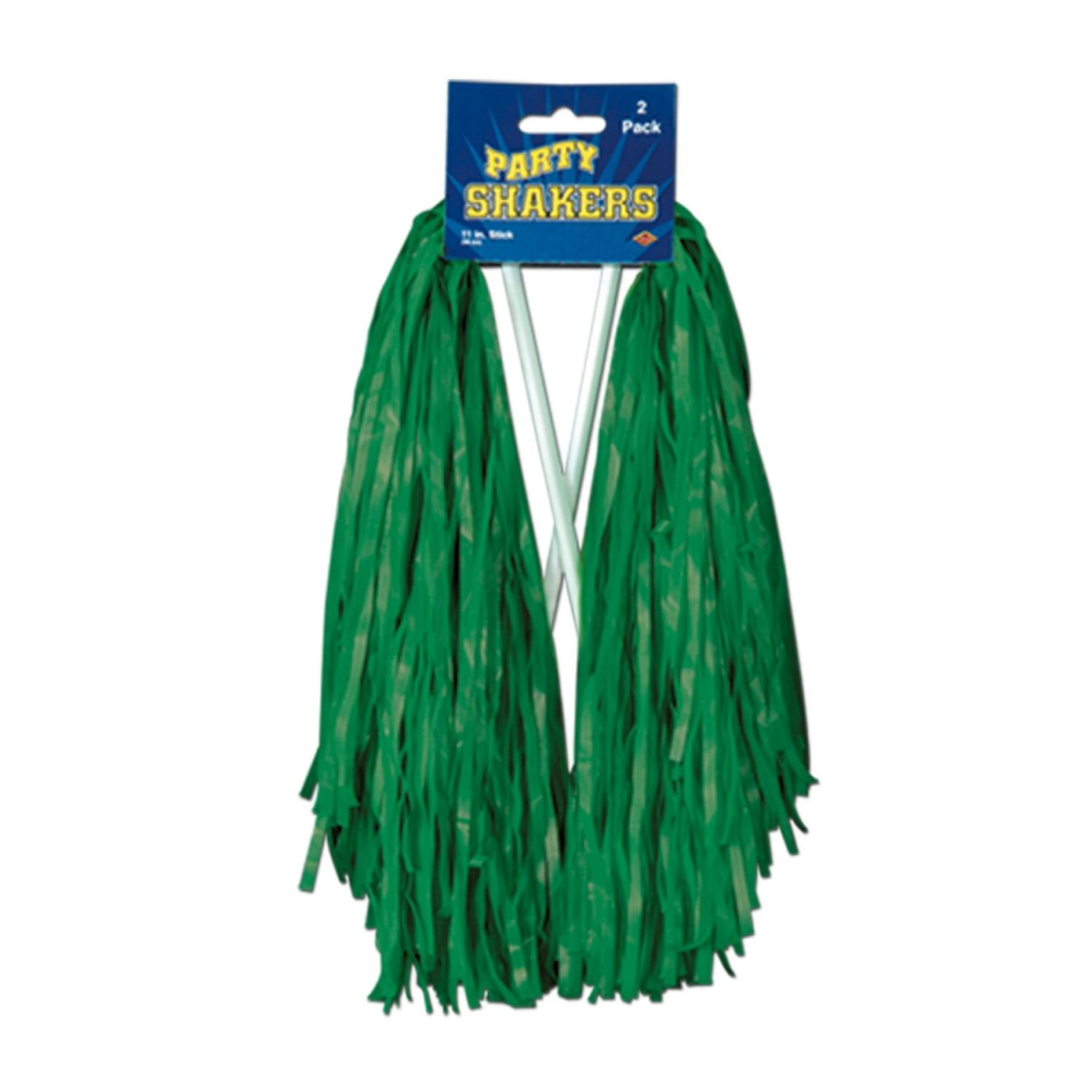 Club Pack of 48 Pre-Packaged Kelly Green Football Themed School Spirt Poly Shakers 12