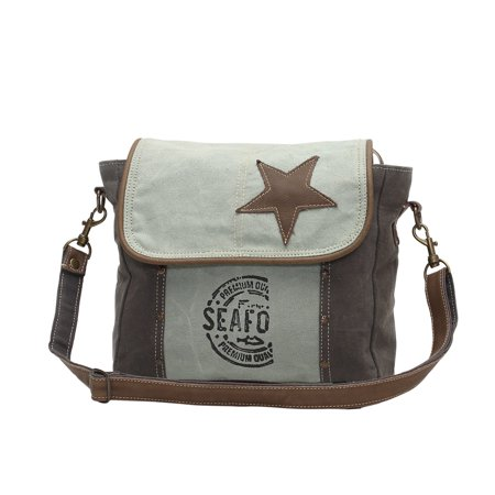 Star On Upcycled Canvas and Grenuine Leather Messenger Bag - image 3 of 4