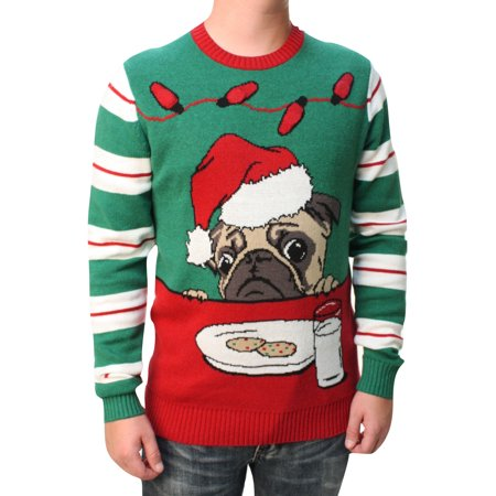 ugly christmas sweater ugly christmas sweater mens pug cookies light up pullover sweatshirt walmartcom