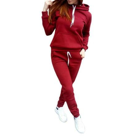 2Pcs Women Tracksuit Hoodies Sweatshirt + Pants Sets Athleisure Casual Sport Wear Suit