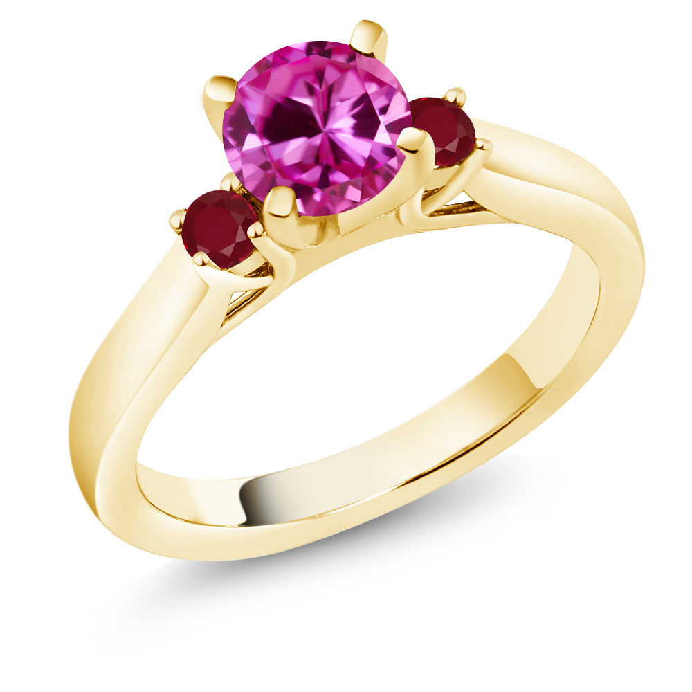 1.24 Ct Round Pink Created Sapphire Red Ruby 14K Yellow Gold Engagement Ring by