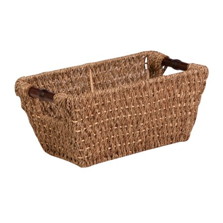 Honey Can Do Small Seagrass Basket with Handles and Iron Frame, Brown ()