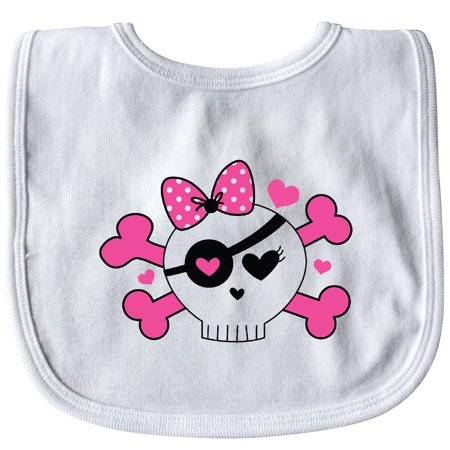 Inktastic Girl Pirate Skull Valentine Baby Bib Valentines Day Pink Hearts Cute And Crossbones Funny Gift Clothing Infant Hws - Cute Pirate