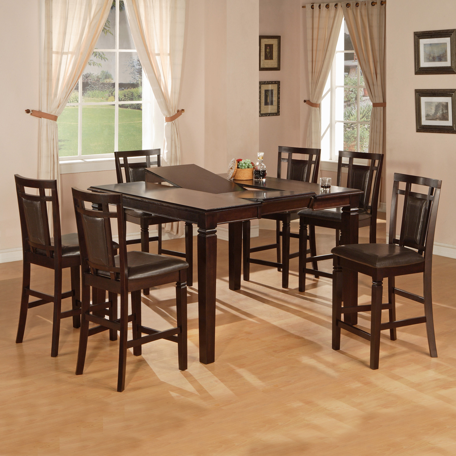 Genial Home Source Counter Height 5 Piece Butterfly Leaf Dining Set