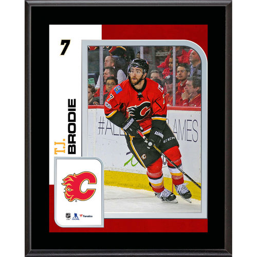 """TJ Brodie Calgary Flames 10.5"""" x 13"""" Sublimated Player Plaque - No Size"""