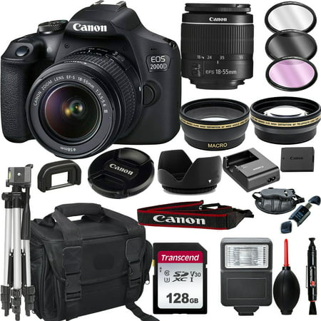 Canon EOS 2000D Rebel T7 DSLR Camera with 18-55mm f/3.5-5.6 Zoom Lens + + 128GB Card, Tripod, Flash, and More 20pc Bundle