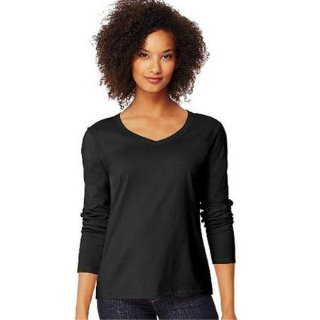 O9142 Womens Long-Sleeve V-Neck T-Shirt, Ebony - (Ebony Womens Shirt)