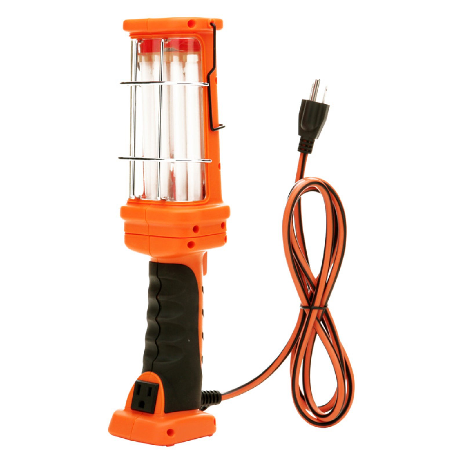 Woods 26-Watt Fluorescent Hand Held Work Light with Grounded Outlet, 6-Foot Cord, Orange