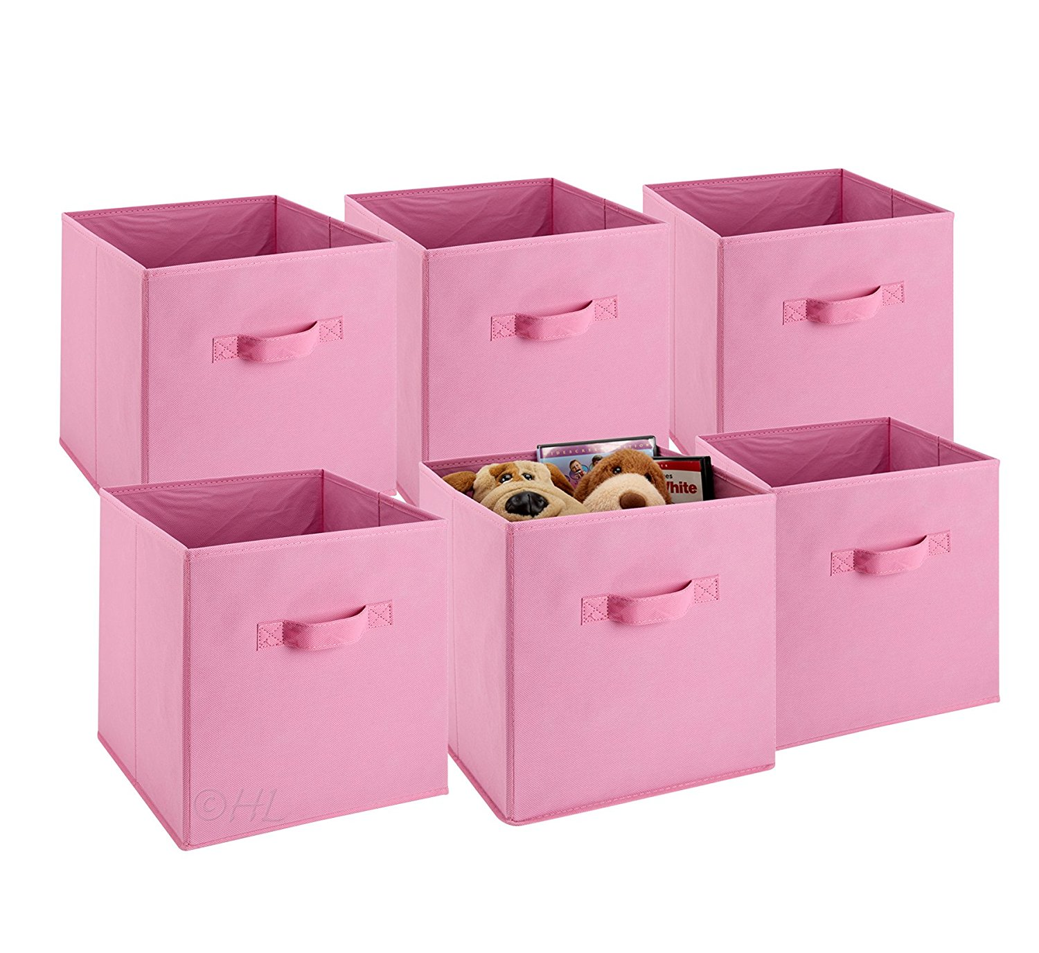 Foldable Cube Storage Bins - 6 Pack - These Decorative Fabric Storage Cubes are Collapsible and Great Organizer for Shelf, Closet or Underbed. Convenient for Clothes or Kids Toy Storage Unit (Pink)