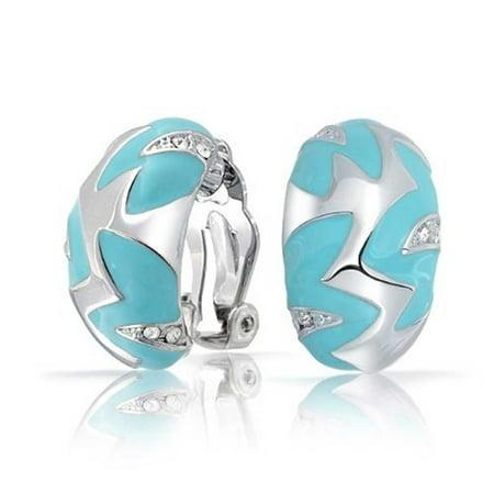 Geometric Simulated Turquoise Blue Enamel Zig Zag Half Hoop Clip On Earrings For Women Silver Plated Brass Blue Clip Earrings