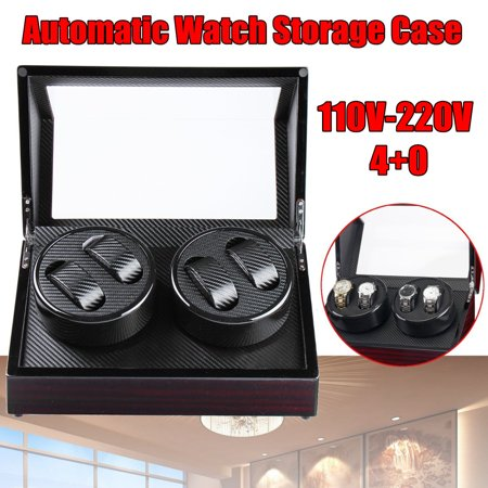 4+0 Watch Winder Box Automatic Rotating Storage 100-240V Watch display Display Box Luxury Case Carbon Fiber Black