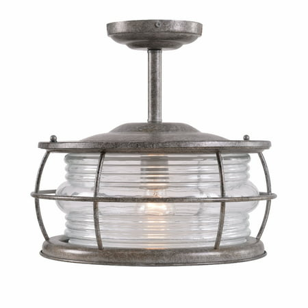 Kenroy Home Coastal Outdoor 1 Light Convertible Semi Flush, Adjustable Height, 13 Inch Dia, Antique Flint Finish, Requires 100 Watt Bulb, Clear Ribbed Glass Shade with Closed Bottom, UL Listed for Wet 1 Light Convertible Flush