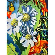 TAF DECOR Daises Painting Print on Canvas