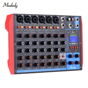 Muslady AG-8 Portable 8-Channel Mixing Console Digital Audio Mixer +48V Phantom Power Supports BT/USB/MP3 Connection for Music Recording DJ Network Live Broadcast Karaoke