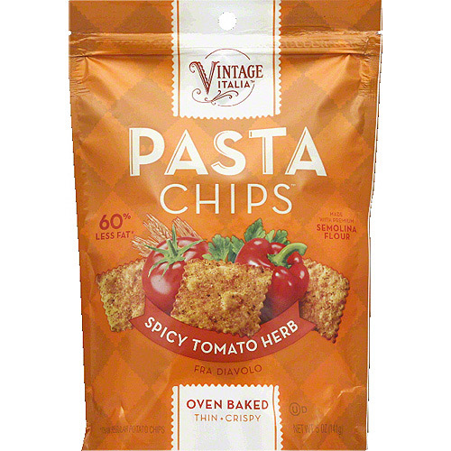 Vintage Italia Spicy Tomato Herb Pasta Chips, 5 oz, (Pack of 12)