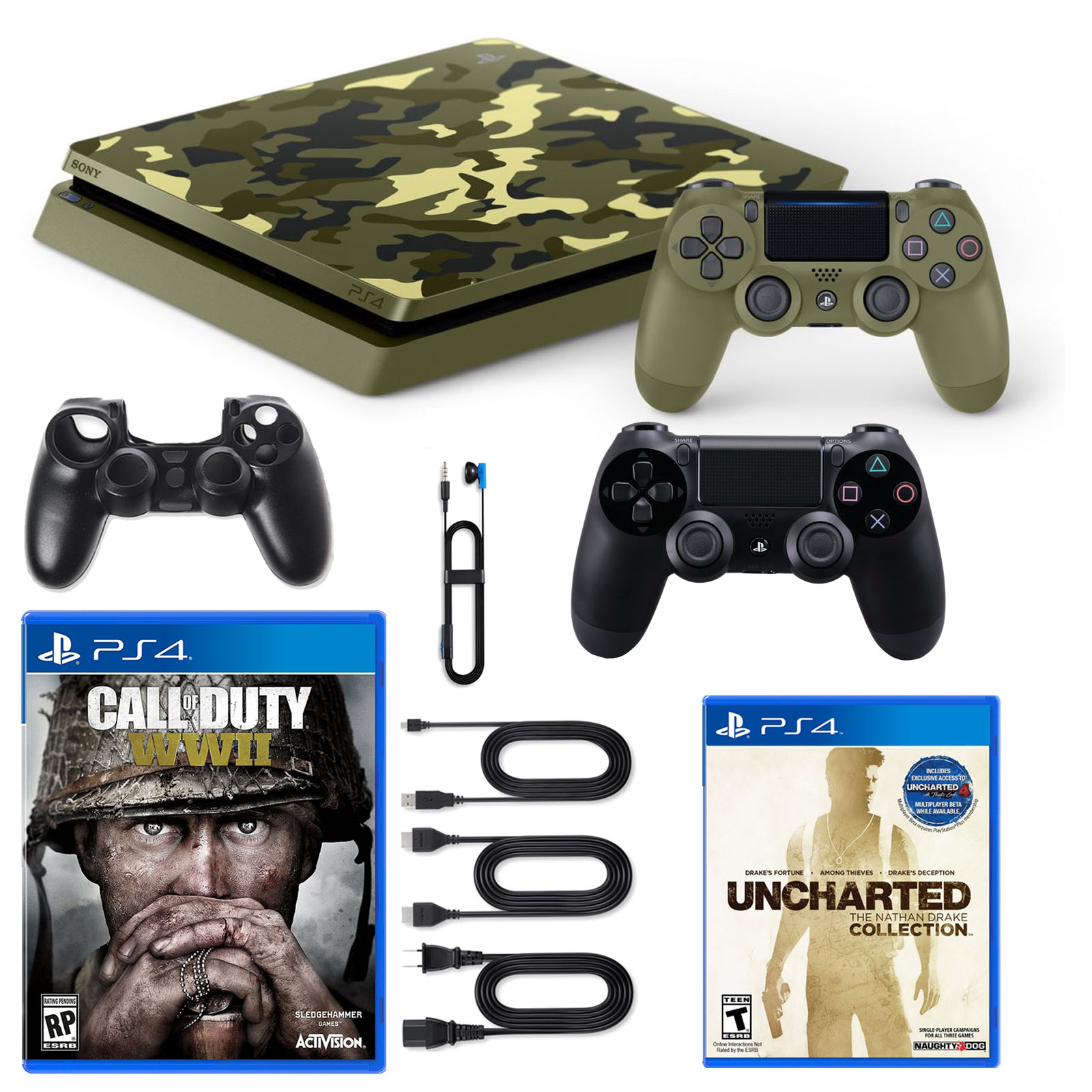Playstation 4 1TB LE COD WWII Console with Dualshock, Nathan Drake Game and Silicone Sleeve