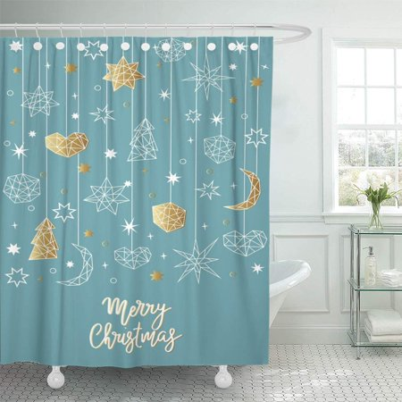 PKNMT Merry Christmas and Happy New Year in Geometric Holiday Composition with Star Bathroom Shower Curtains 60x72 (Merry Christmas And Happy New Year In German)
