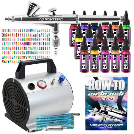 PointZero Complete Airbrush Nail Art Kit - 16 Color 240 Stencil Set