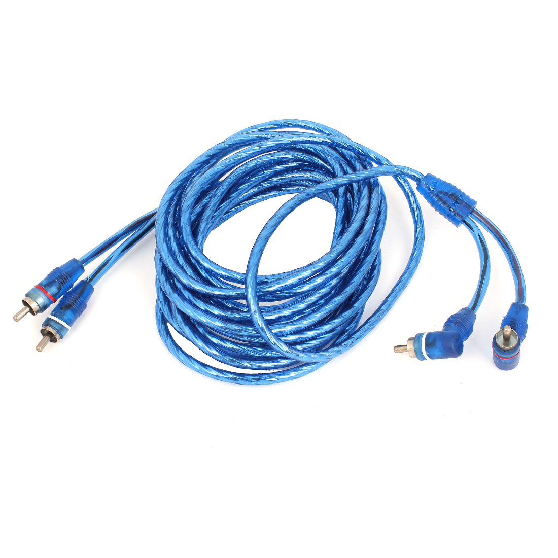Unique Bargains Automobile Car Audio Video 2 RCA M/M AV Cable Cord Wire Blue 5 Meter