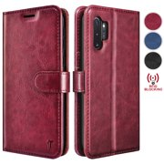 Tekcoo Wallet Cases for Samsung Galaxy Note 10 10+ 10 Plus 5G Premium Vegan Leather [RFID Blocking] Luxury ID Cash Credit Card Slots Holder Carrying Pouch Phone Folio Flip Cover [Wine Red]