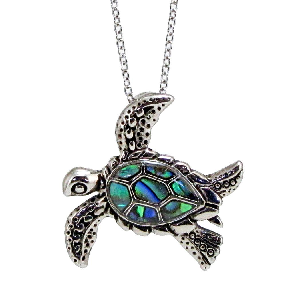 """Storrs Wild Pearle Handmade Abalone Pendant 18"""" Necklace Fancy Sea Turtle"""
