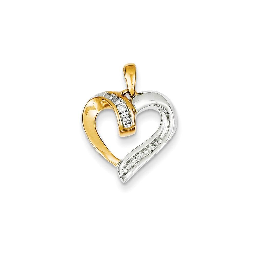 14K Two Tone Gold baguette Diamond Heart Pendant. Carat Wt- 0.13ct