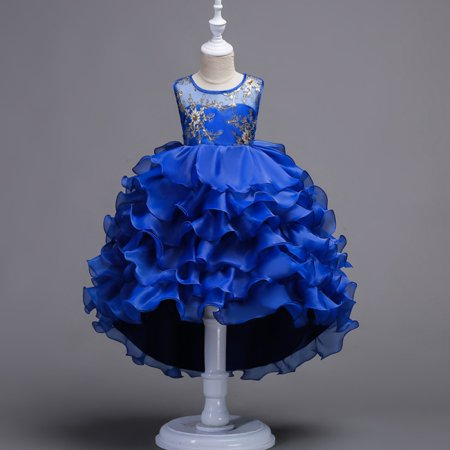BOBORA Asian Size Kids Girls Sleeveless Embroidery Flower Dresses Wedding Trailing Party Prom Gown Plus Size](Kid Girl Dresses)