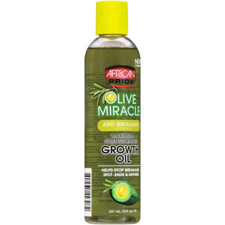 African Pride Olive Miracle Anti-Breakage Formula Maximum Strengthening Growth Oil 8 fl. oz. (Olive Oil Hair Care)