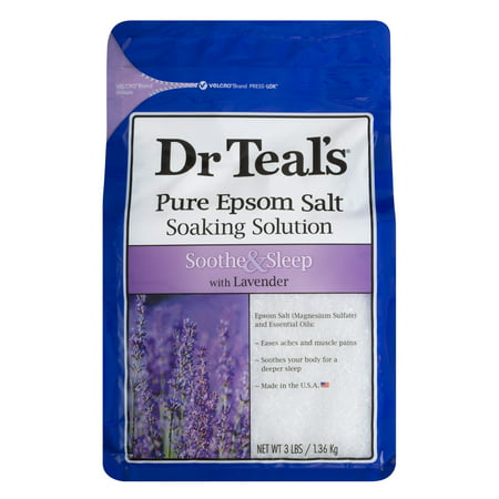 Dr Teal's Pure Epsom Salt Soaking Solution, Soothe & Sleep with Lavender, 3