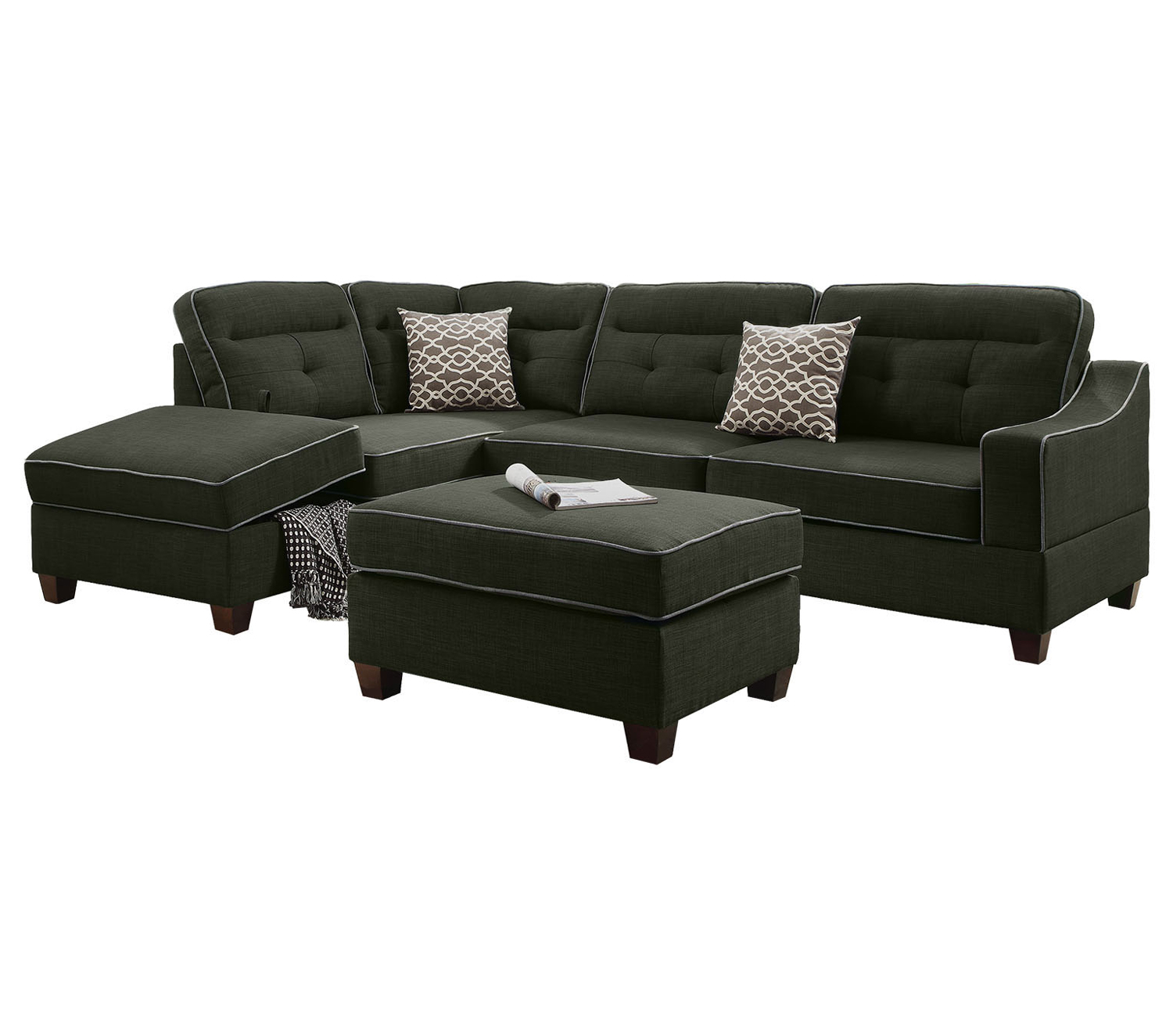 Bobkona Kathie Dorris fabric Left or Right hand Chaise Sectional Set with Storage Compartment and Ottoman in Ash Black. by Poundex