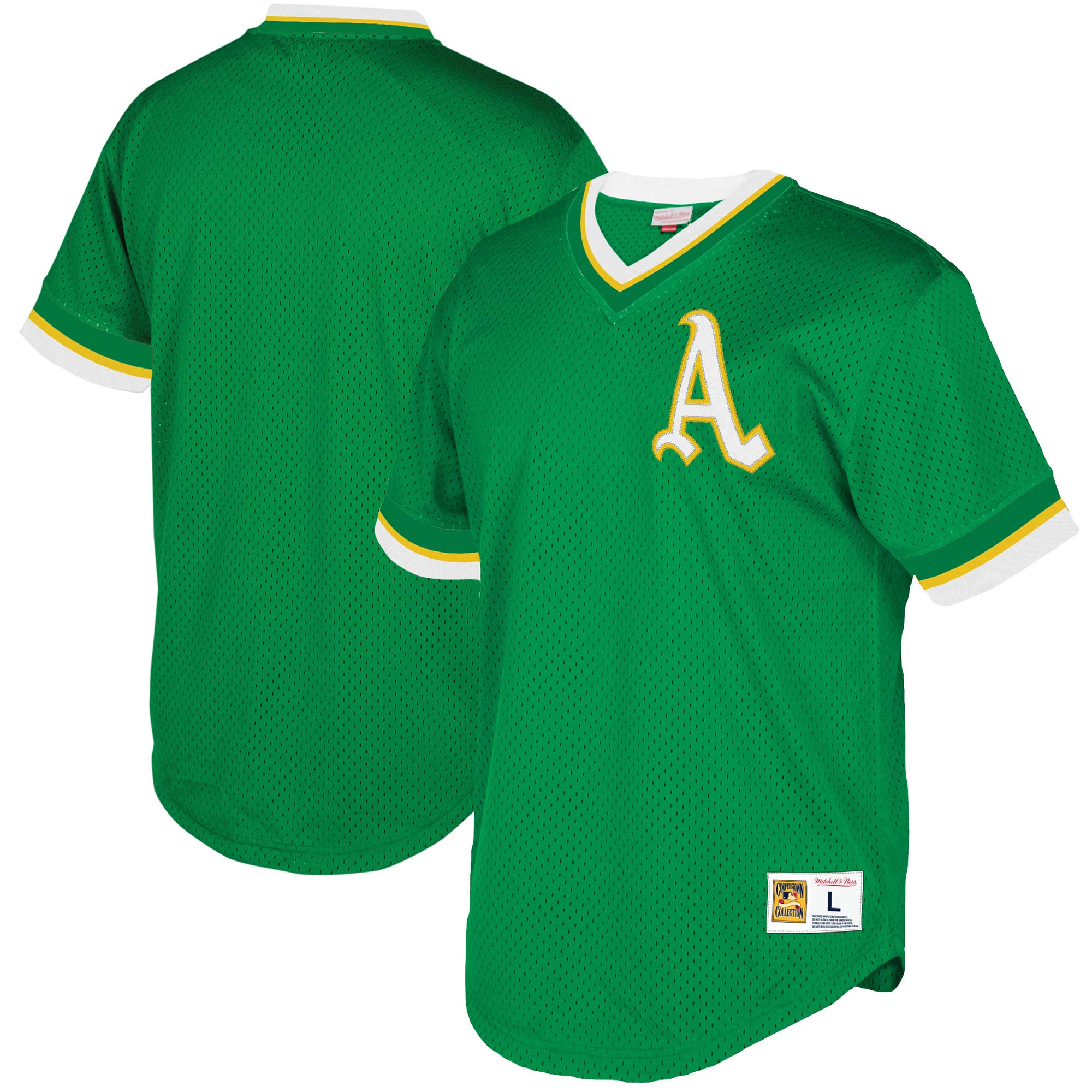 Oakland Athletics Mitchell & Ness Mesh V-Neck Jersey - Green