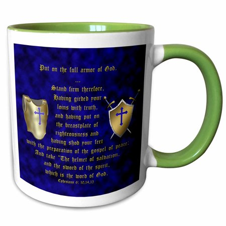 Shield Two Light (3dRose Ephesians 6: 10, 14, 15; Put on full armor of God; breastplate, shield, swords - Two Tone Green Mug, 11-ounce)