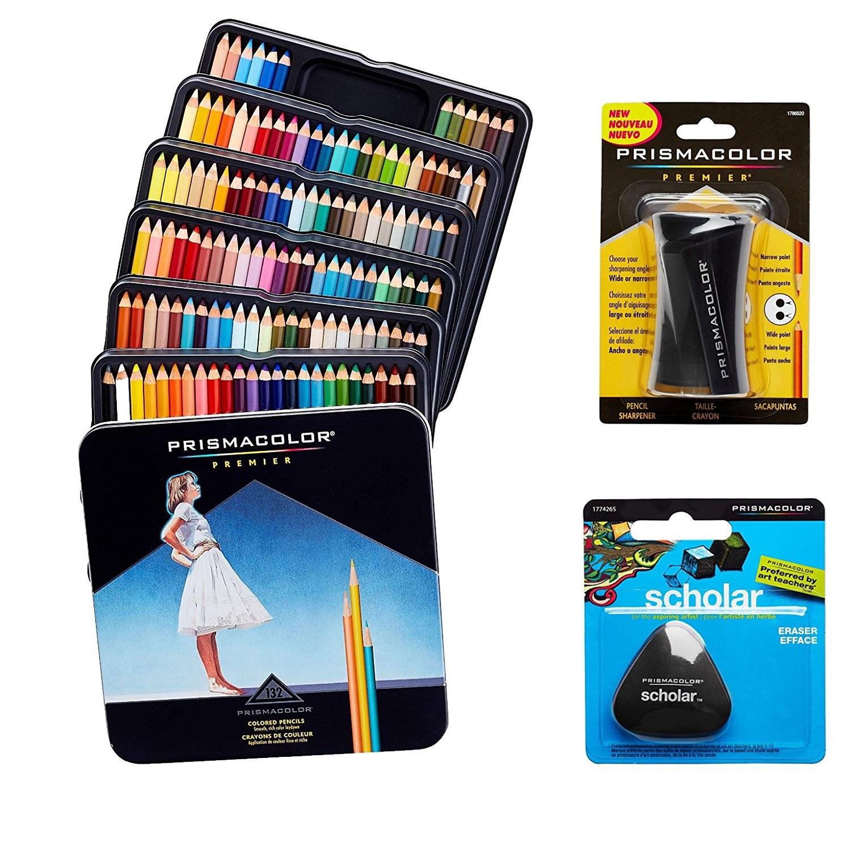 Sanford Prismacolor Colored Pencils Box of 132 Assorted Colors, Triangular Scholar Pencil Eraser and Premier Sharpener