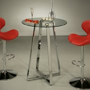 Pastel Nostalgia 36 Inch Round Glass Pub Table w/ Chrome Base