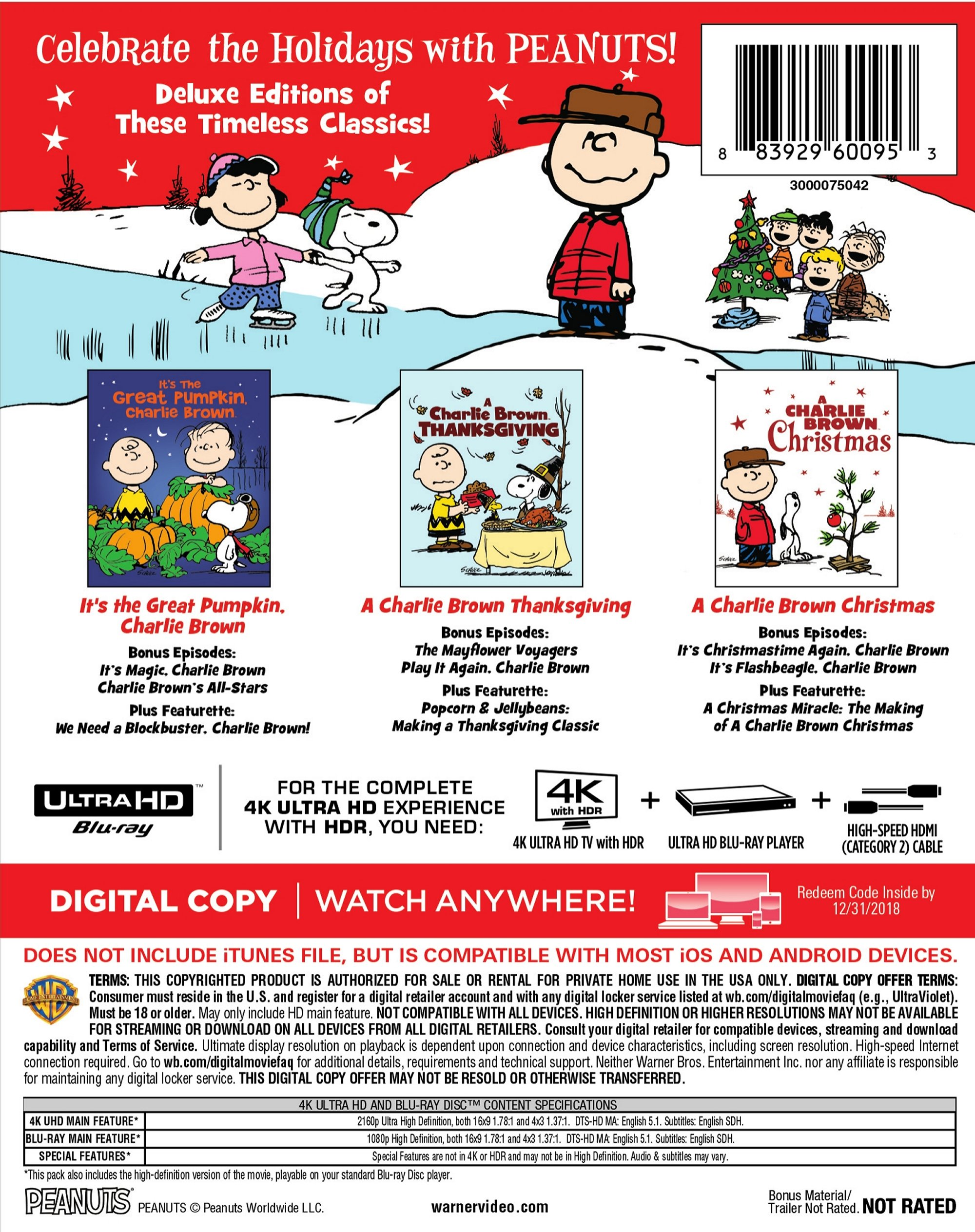 Peanuts Deluxe Holiday Collection (4K Ultra HD + Blu-ray + Digital ...