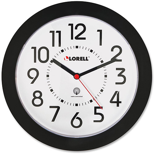 "Lorell 9"" Radio Controlled Black Wall Clock"