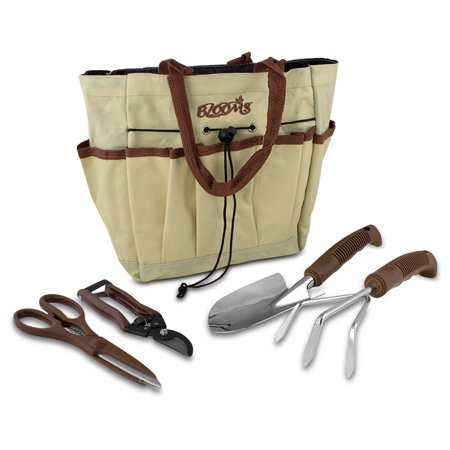 (Blooms 5-Piece Gardening Tool Set (Tan Canvas Bag))