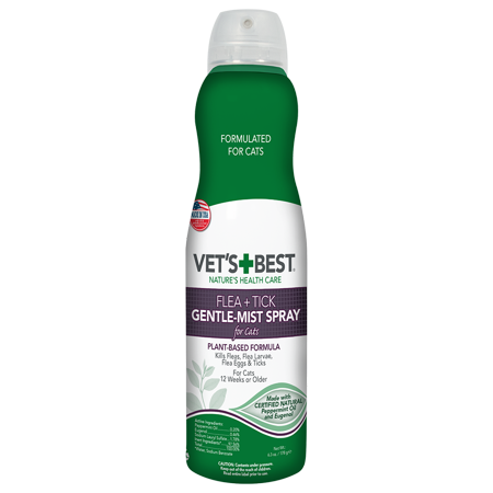 Vet's Best Flea and Tick Gentle-Mist Spray for Cats | Flea Killer with Certified Natural Oils | Gentle-Mist Spray for Easy Application and Control | 6.3