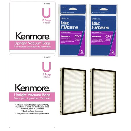 1 Year Supply Kit For Kenmore Bagged Upright Vacuums, (11) Type U Bags, (2) CF-3 Chamber Filters, (2) EF-1 HEPA