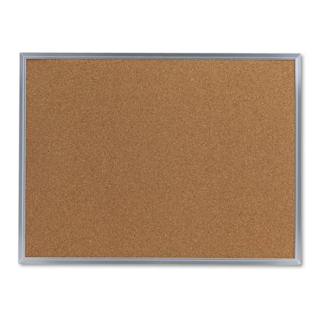 French Bulletin Board (Universal Bulletin Board, Natural Cork, 24 x 18, Satin-Finished Aluminum Frame)