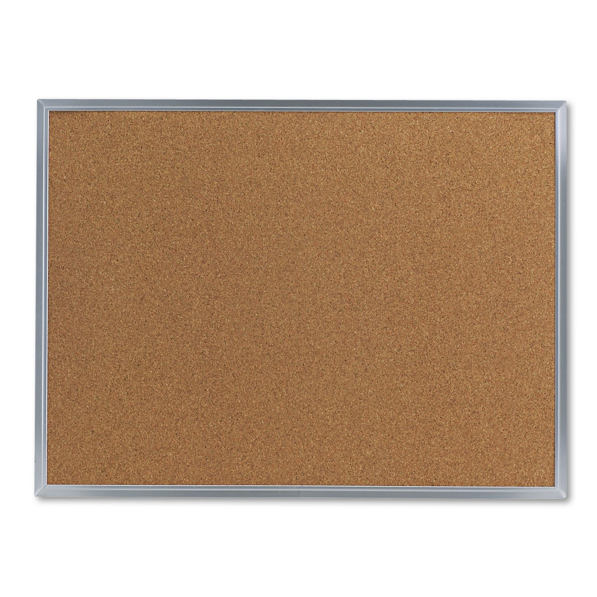 Universal Bulletin Board, Natural Cork, 24 x 18, Satin-Finished Aluminum Frame -UNV43612